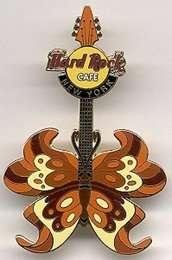 Hard Rock Cafe NEW YORK 2004 Tattoo BUTTERFLY Guitar PIN Series