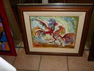 COCKFIGHT Pelea de Gallos MIGUEL ALFARO Painting Art