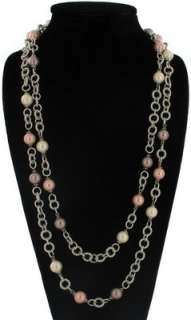 New Pink Faux Pearl Silver Tone Chain Long Necklace 60