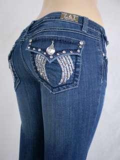 Women Plus Size La Idol Bootcut Jeans Embroidery Crystal Crown Stretch