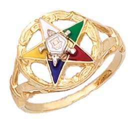 Silver Vermeil Gold Masonic Freemason Eastern Star Ring