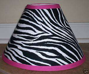 made with black white stripe animal fabric pink trim lamp shade
