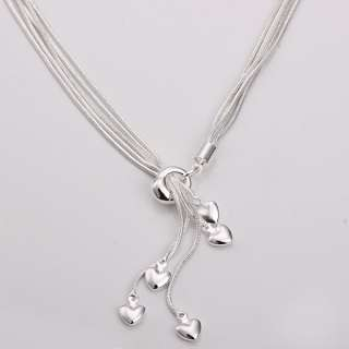 wholesale solid silver fashion 5line&heart necklace