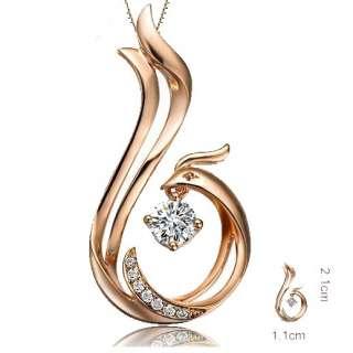 LOVE FOREVER Phoenix Pendant Round Cut Diamond 9 18K Rose/White Gold