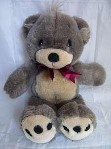 MOMENTS 1993 Gray Brown Stuffed Teddy Bear Plush Cartoon Eyes TM