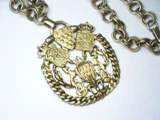 Large Vintage Gold Tone Crest Medallion Pendant Necklace
