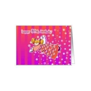 80 years old Angel or Fairy Magic Happy Birthday Card Card