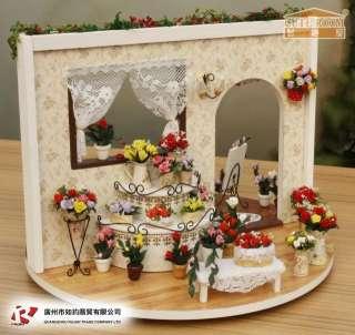Rose Garden DIY Wood Dollhouse Music Box 360 Reversable all Furniture
