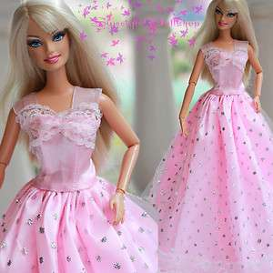 New Barbie Dolls Fashion Princess Dress Pink Gown Clothes ZQ151