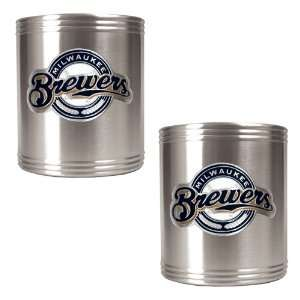 Milwaukee Brewers MLB 2pc Stainless Steel Can Holder Set  Primary Logo
