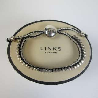 NEW GENUINE Links of London 39 Bar Black & White Friendship Bracelet