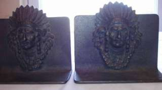 VINTAGE CASE IRON INDIAN HEAD CHIEF NATIVE AMERICAN BOOKENDS BOOK ENDS