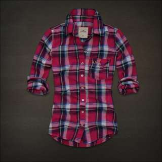 NWT Hollister Women Brooks Street Pink Plaid Shirt XS