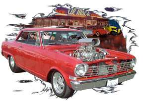 You are bidding on 1 1964 Red Chevy Nova Blown Custom Hot Rod