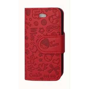Red Cute Lovely Flip Leather Case Cover Pouch for Apple