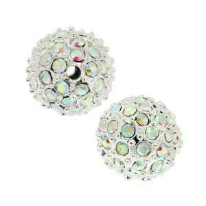 Beadelle Crystal 10mm Round Pave Bead   Silver Plated / Crystal AB (1