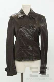 Michael Kors Dark Brown Leather Double Breasted Jacket Size 4 NEW $
