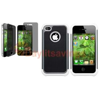 Black Mesh Smoke White Hard Case Cover+PRIVACY FILTER Guard for iPhone