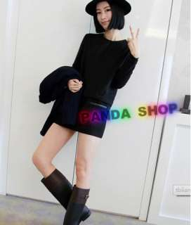 Zip Back Women Long Sleeve Mini Dress Top Pure Simple Adorable Comfy
