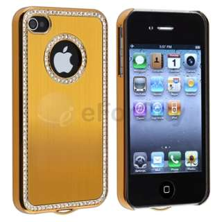 Luxury Bling Rhinestone Hard Case Cover for iPhone 4 4S 4G 4GS HD Gold