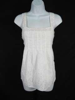CYNTHIA STEFFE White Lined Tank Top Crocheted Shirt Sz6