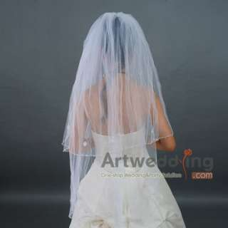 2T White Tulle Wedding Bridal Veil with Sequins Fingertip 41
