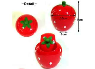 strawberry mini cute desktop table trash waste plastic basket pink red
