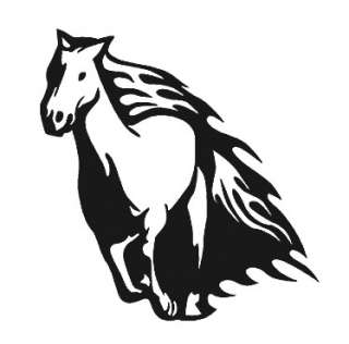 Vinyl Wall Art Decal Sticker Horse Mustang Flames 20x21