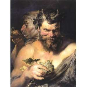 Oil Painting Two Satyrs Peter Paul Rubens Hand Painted