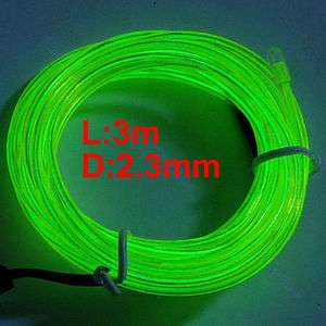 Light Glow EL Wire Rope Tube Car Dance Party+Controller F Green
