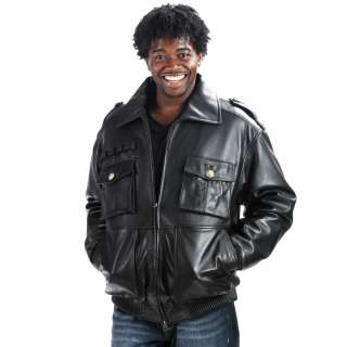 New Black Leather Military Bomber Jacket Urban Hip Hop M L XL