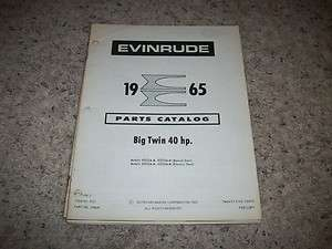 1965 EVINRUDE PARTS CATALOG  OUTBOARD MOTOR 40 HP O.E. BIG TWIN