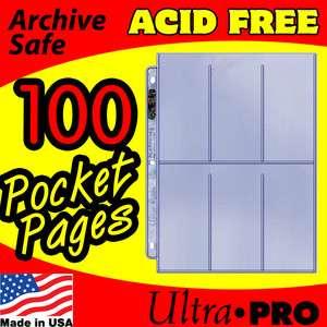 100   6 POCKET PAGES ULTRA PRO PLATINUM CARD STORAGE ACID FREE ARCHIVE