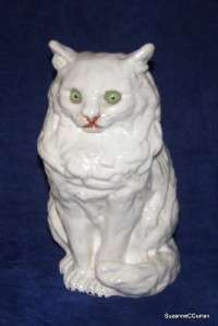 Bavent French Faience Tin Glazed Cat Figurine Green Glass Eyes