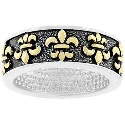 Two tone Antique inspired Fleur de Lis Ring