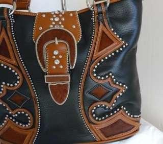 Western Black Brown Hair Hide Belt Buckle Bling Cowgirl Shopper Tote