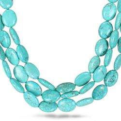 Three Strand Turquoise Bead Necklace