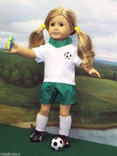 pc Soccer Outfit Green/ White fits American Girl Doll