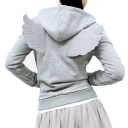 New Womens Angel Wings Zip Up Hoodie Winged Hoody Gray Grey Black XS S