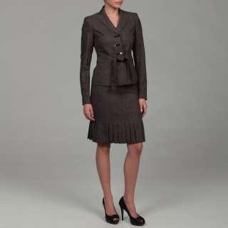 Anne Klein Womens Dark Stone 3 button Skirt Suit
