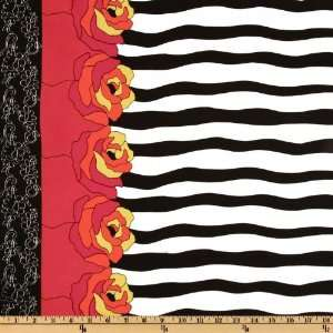 60 Wide Crepe De Chine Floral Stripe Border Black/Brick