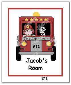 Name Sign Print fire truck dog Boys Room Wall Art