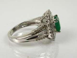 2ct Natural Asscher Cut Emerald & .75ctw Diamond 14k W Gold Ring 5.4g