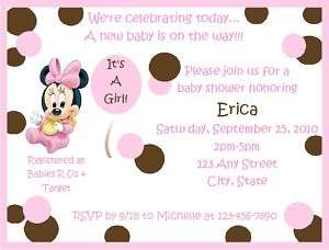 Personalized Baby Minnie Baby Shower Invitations