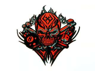 RED SKELETON DEATH ROCK 4 IRON ON PATCH EMBROIDER I164