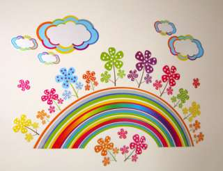 Girls/Children/Kid Bedroom RAINBOW/FLOWER Wall Stickers