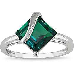 10k White Gold Created Emerald Ring