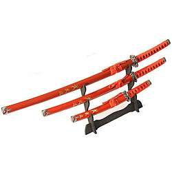 Ninja Symbol 3 piece Red Samurai Sword Set