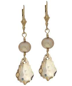 Charming Life Champagne Gold Tone Crystal and Pearl Earrings