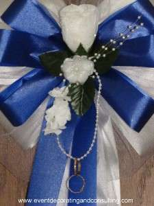 WHITE ROSE ROYAL BLUE Satin Ribbon Bows for Weddings